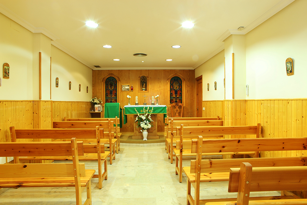 Chapel with religious service